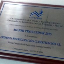 COTECMAR recognizes FRIZONIA as Best International Supplier 2015